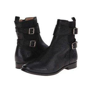 FRYE Anna Gore Double Buckle Leather Ankle Boots B